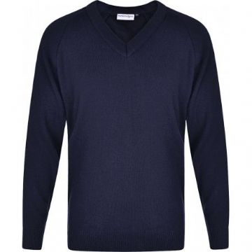 V Neck Jumper with School Logo.